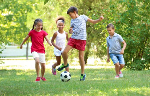 children playing with soccer ball