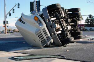 Overturned truck crash